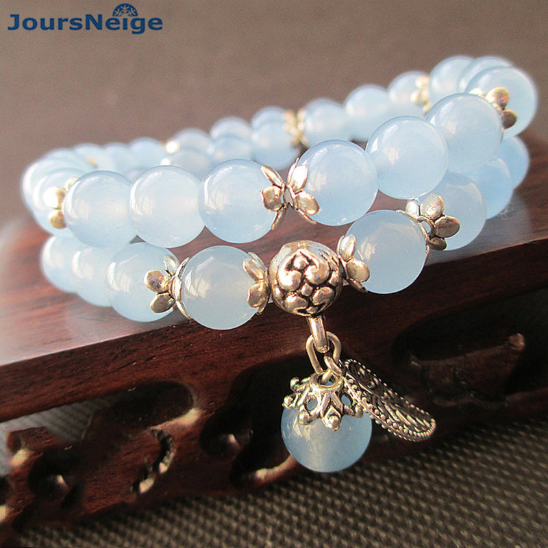 JoursNeige Blue Crystal Bracelets Round Beads Lucky Tibetan Silver Leaf Pendant for Lovers Crystal Bracelet Multilayer Jewelry