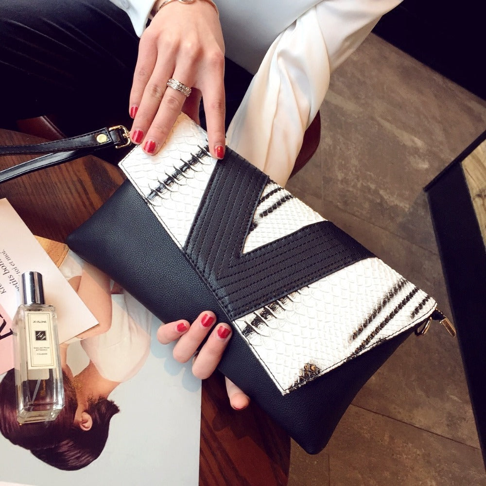 Asymetric Black White Clutch