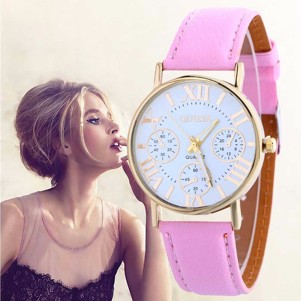 Women Geneva Leather Strap Watch