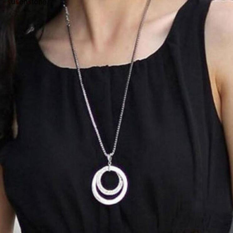 Silver Double Crescent Pendant Necklace