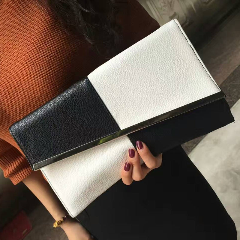 2017 Fight Color PU Leather Summer Women's Clutch Bags Chain Black and White Large Capacity Envelope Bag Women Party Evening Bag