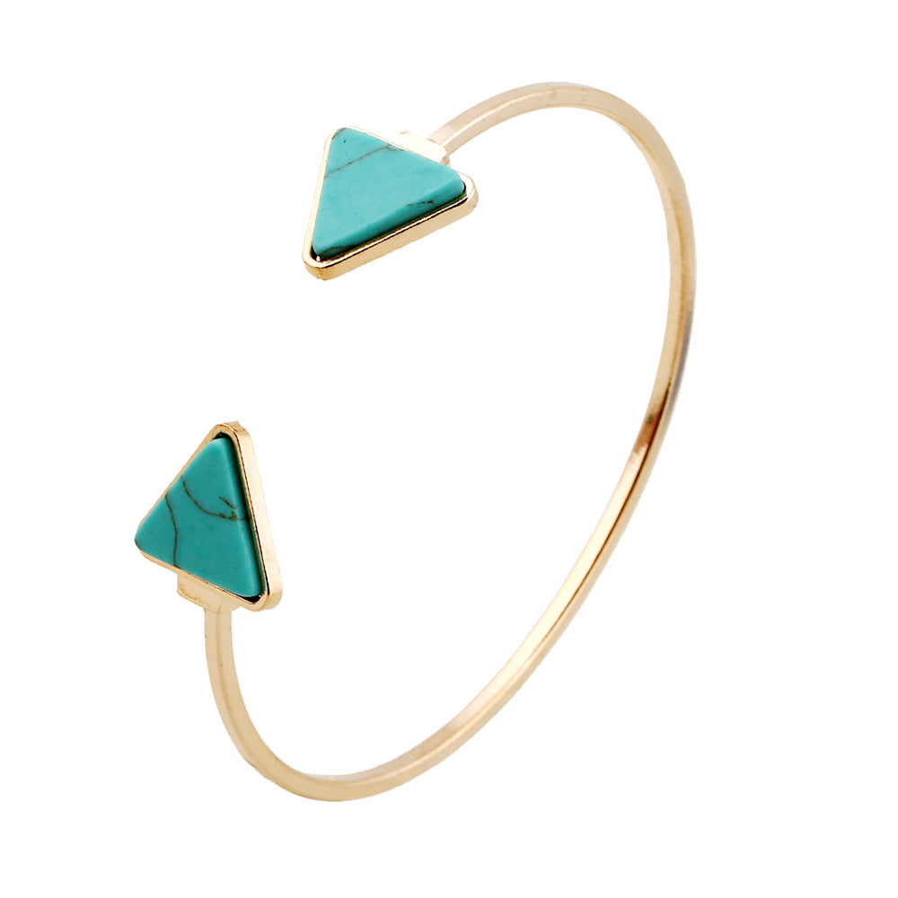 New design Turquoises Bangle Luxury Cuff Triangle Shape Bangles  Bohemian Anti-fatigue Bracelet Bangles Statement Women Gift