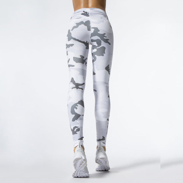 New Camouflage Print Women White Sporting Leggings High Elastic Workout Fitness Leggings Women Skinny Pants