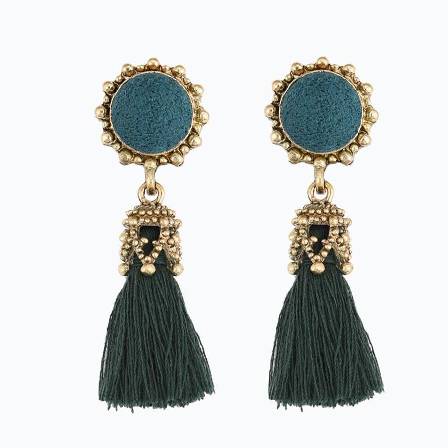 Round Crystal with Long Tassel Earrings