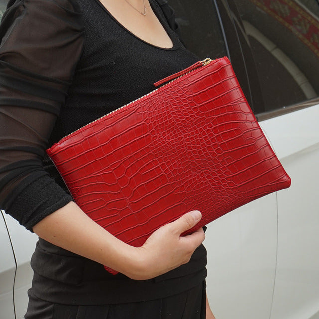 Fashion Croc Skin Clutch