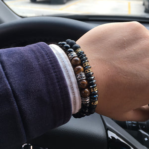 NAIQUBE 2018 Brand New Fashion Pave CZ Men Bracelet 8mm Stone Beads With Hematite Bead Diy Charm Bracelet For Men Jewelry Gift