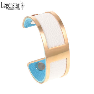 Legenstar Barrette Bracelet Rose Gold Color 25mm Reversible Leather Stainless Steel Cuff Bracelet &Bangle Fashion Jewelry