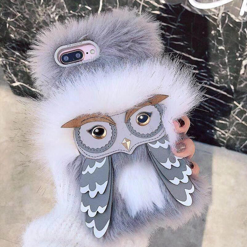 Plush Furry Owl Phone Cases