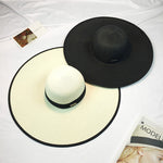 Black Trim Wide Brim Sun Hat