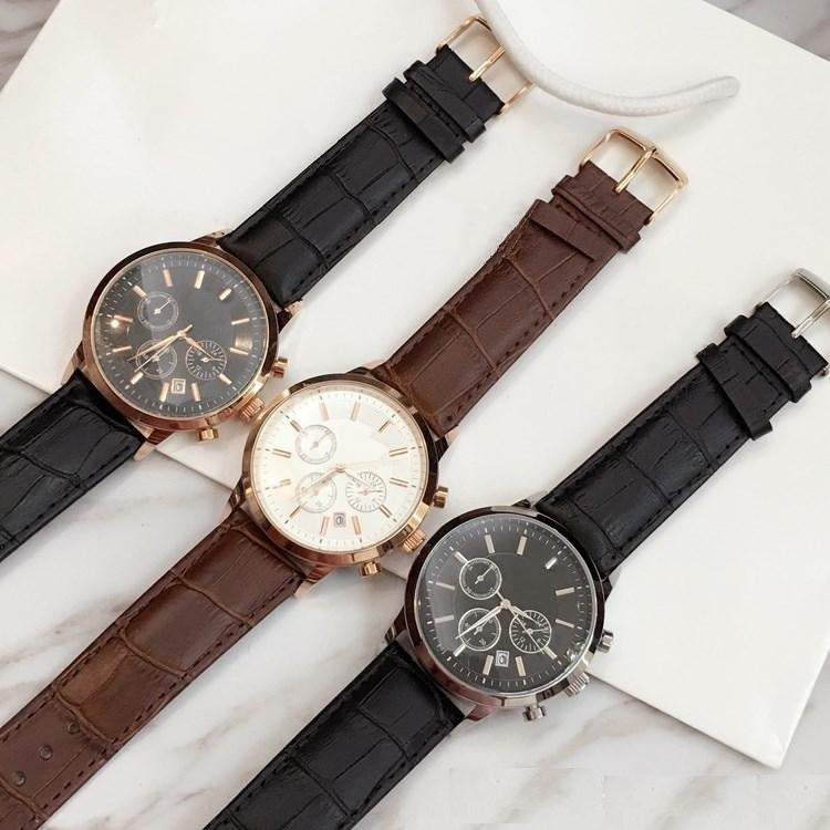 Three Dial Leather Strap Watch