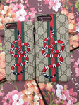 Embroidered Snake On Print iPhone Case