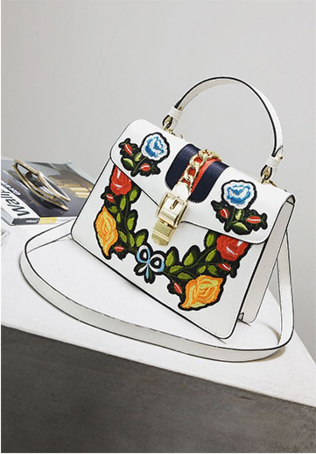 Flower Power White Purse
