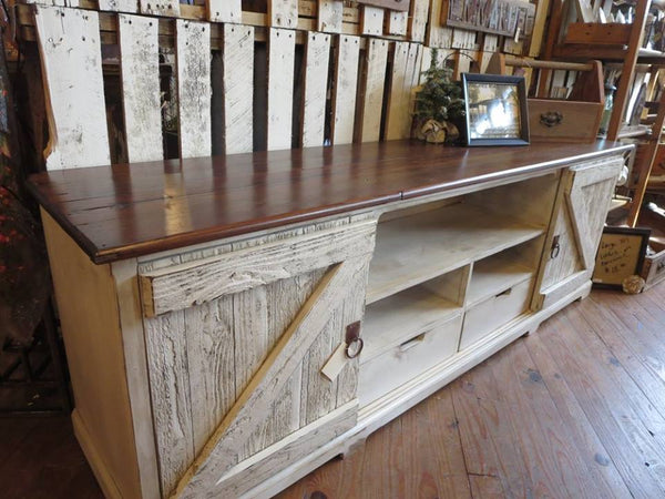 handmade reclaimed barnwood entertainment center