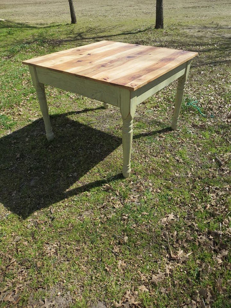 custom farm table hickory top