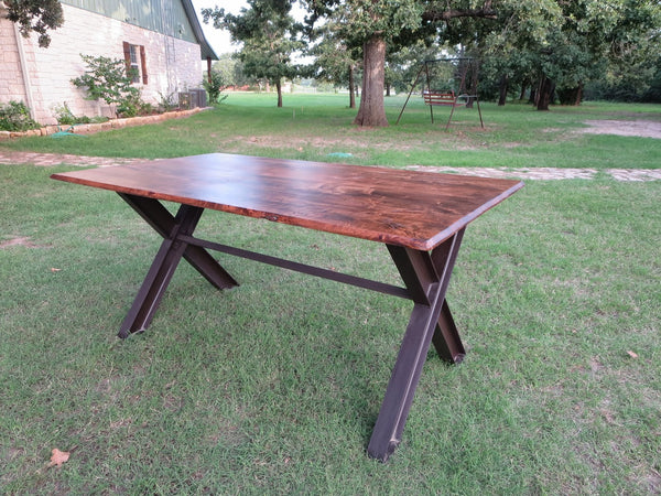 custom iron and wood table