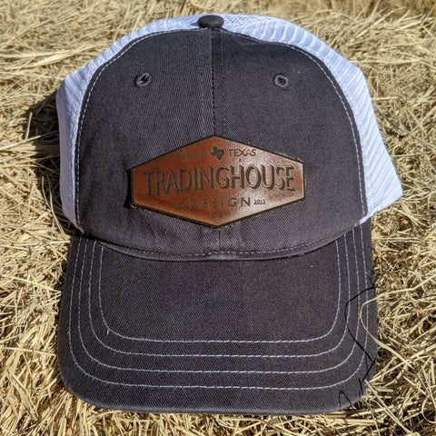 Tradinghouse Design Leather Patch Hat-Dark Grey/White