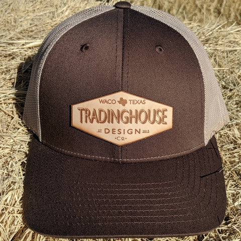 Tradinghouse Design Leather Patch Hat- Brown/Beige