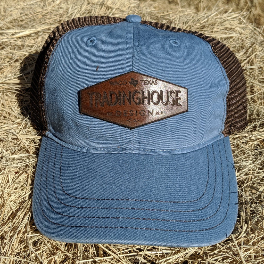 Tradinghouse Design Leather Patch Hat-Lt.Blue/Brown