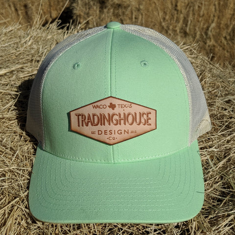 Tradinghouse Design Leather Patch Hat-Seafoam