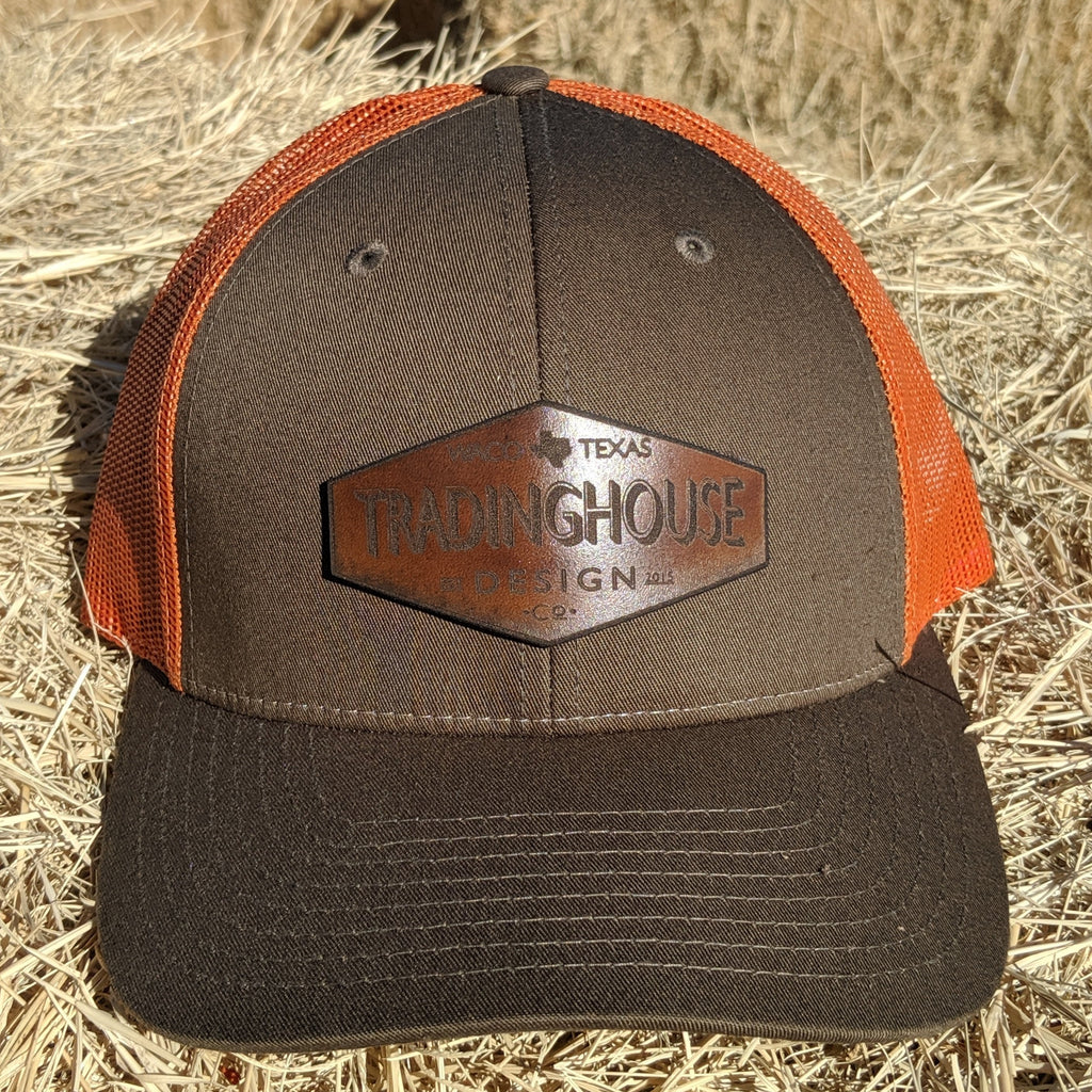 Tradinghouse Design Leather Patch Hat- Orange/Green