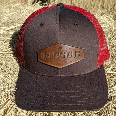 Tradinghouse Design Leather Patch Hat-Red