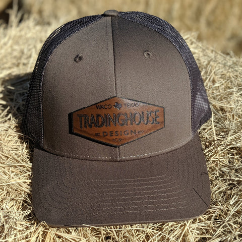 Tradinghouse Design Leather Patch Hat- Slate/Brown