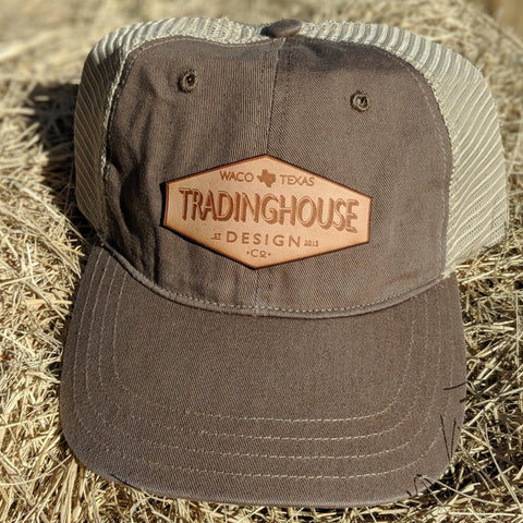 Tradinghouse Design Leather Patch Hat-Beige/Tan