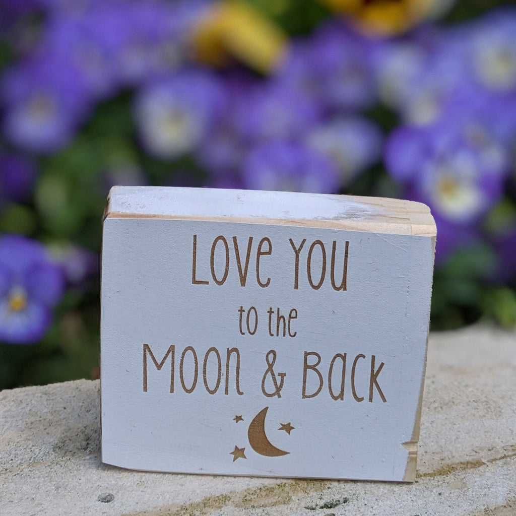 love you to the moon and back engraved sign