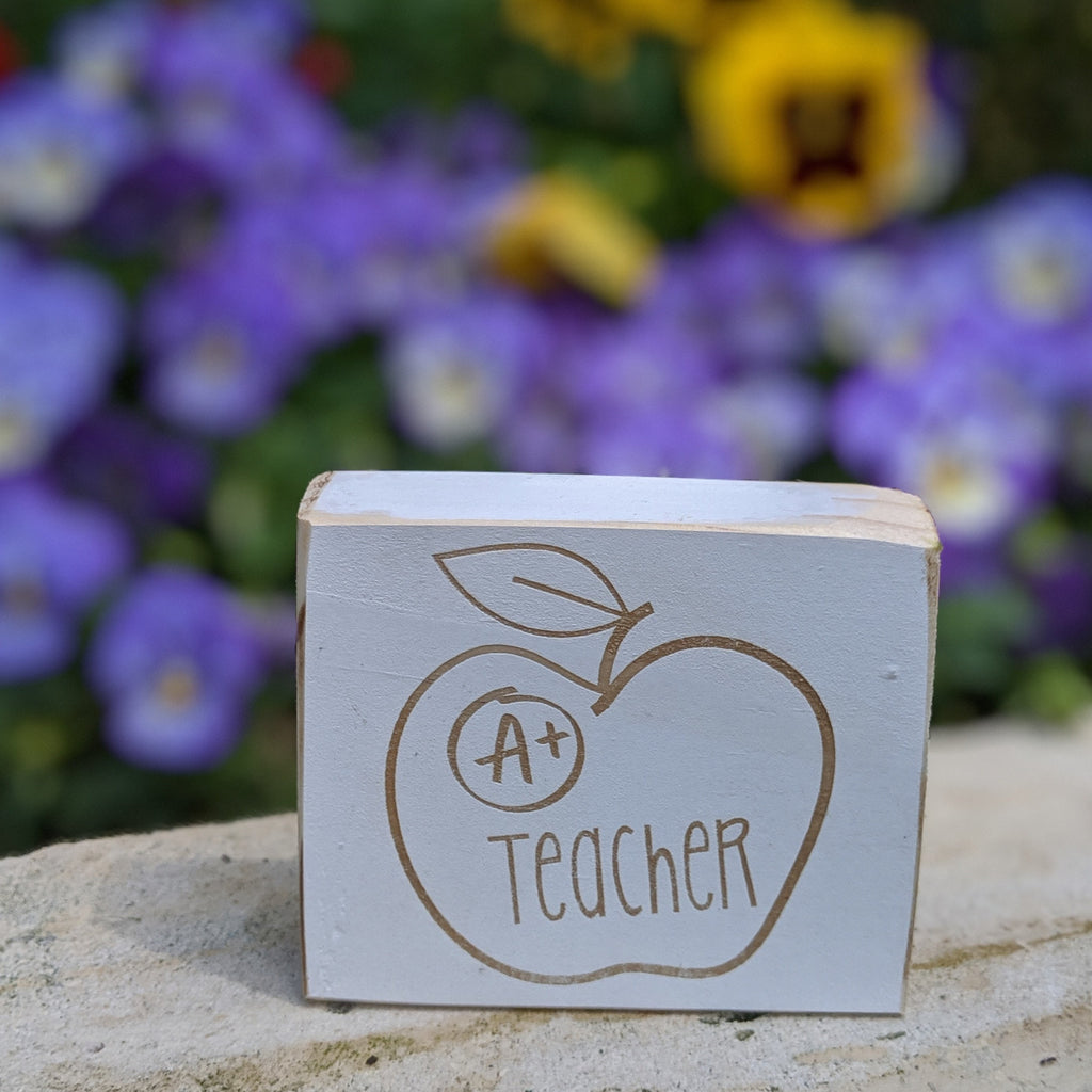 a plus teacher engraved sign apple teacher appreciation gift
