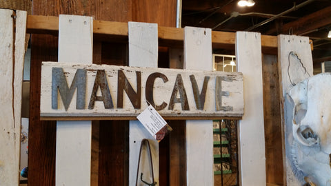 Handmade Reclaimed Barn Wood & Tin Man Cave Sign