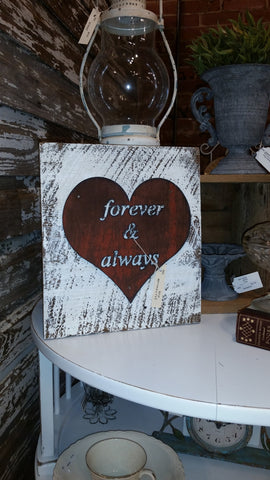Handmade Reclaimed Barn Wood & Tin Forever and Always Heart Sign