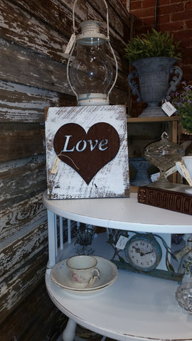 Handmade Reclaimed Barn Wood & Tin Heart Love Sign