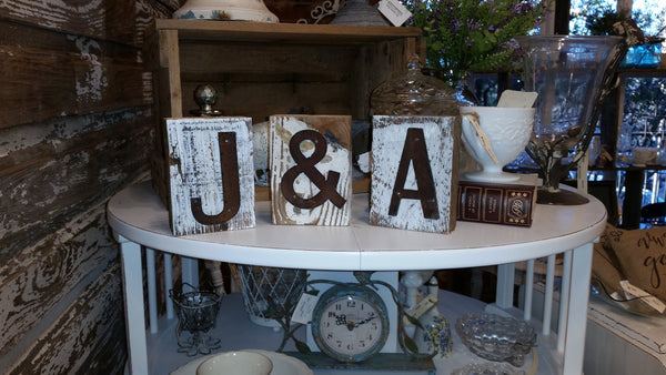 Small Reclaimed Barn Wood Block | Letter Initial