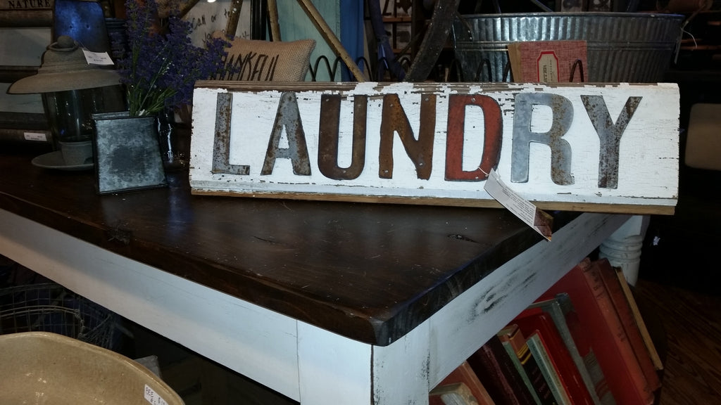Handmade Reclaimed Barn Wood & Tin Laundry Sign