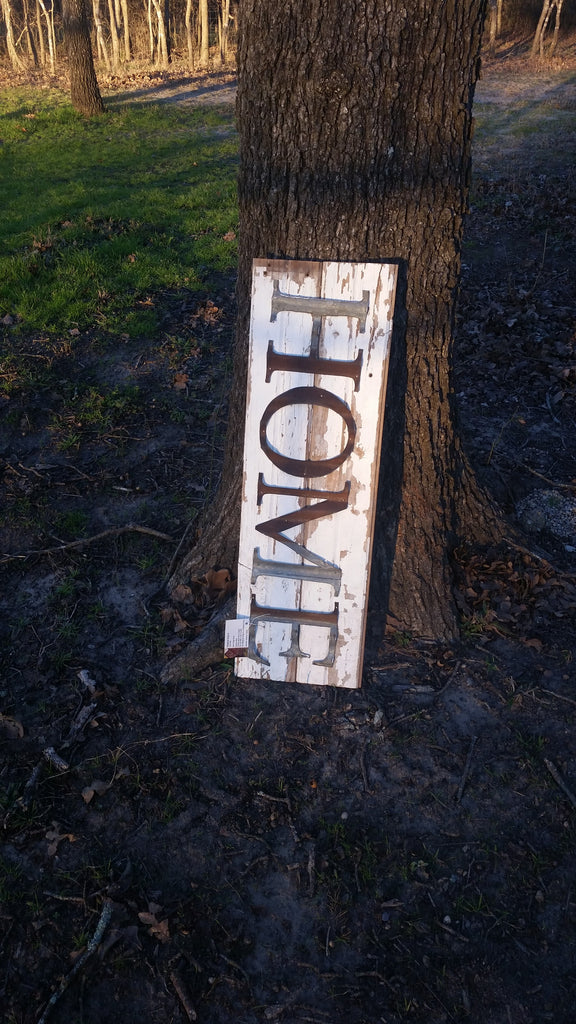 Large Reclaimed Barn Wood Sign | Home