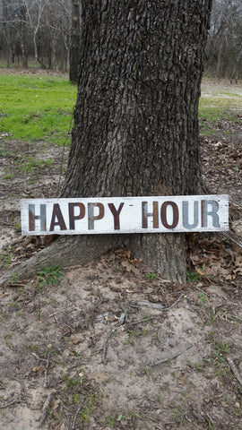 Reclaimed Barn Tin Sign | Happy Hour