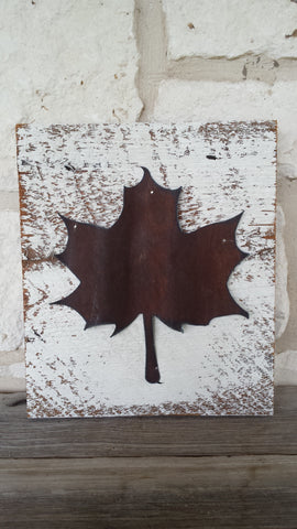 Handmade Reclaimed Barn Wood & Tin Leaf Sign