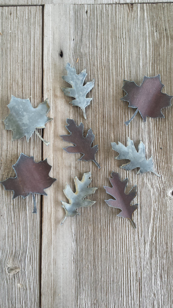 Reclaimed Barn Tin Small Metal Leaves