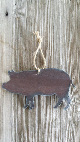 Reclaimed Tin Pig Ornament