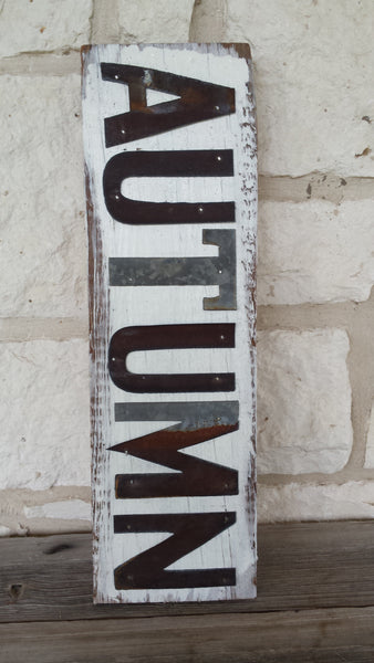 Handmade Reclaimed Barn Wood and Tin Autumn Sign