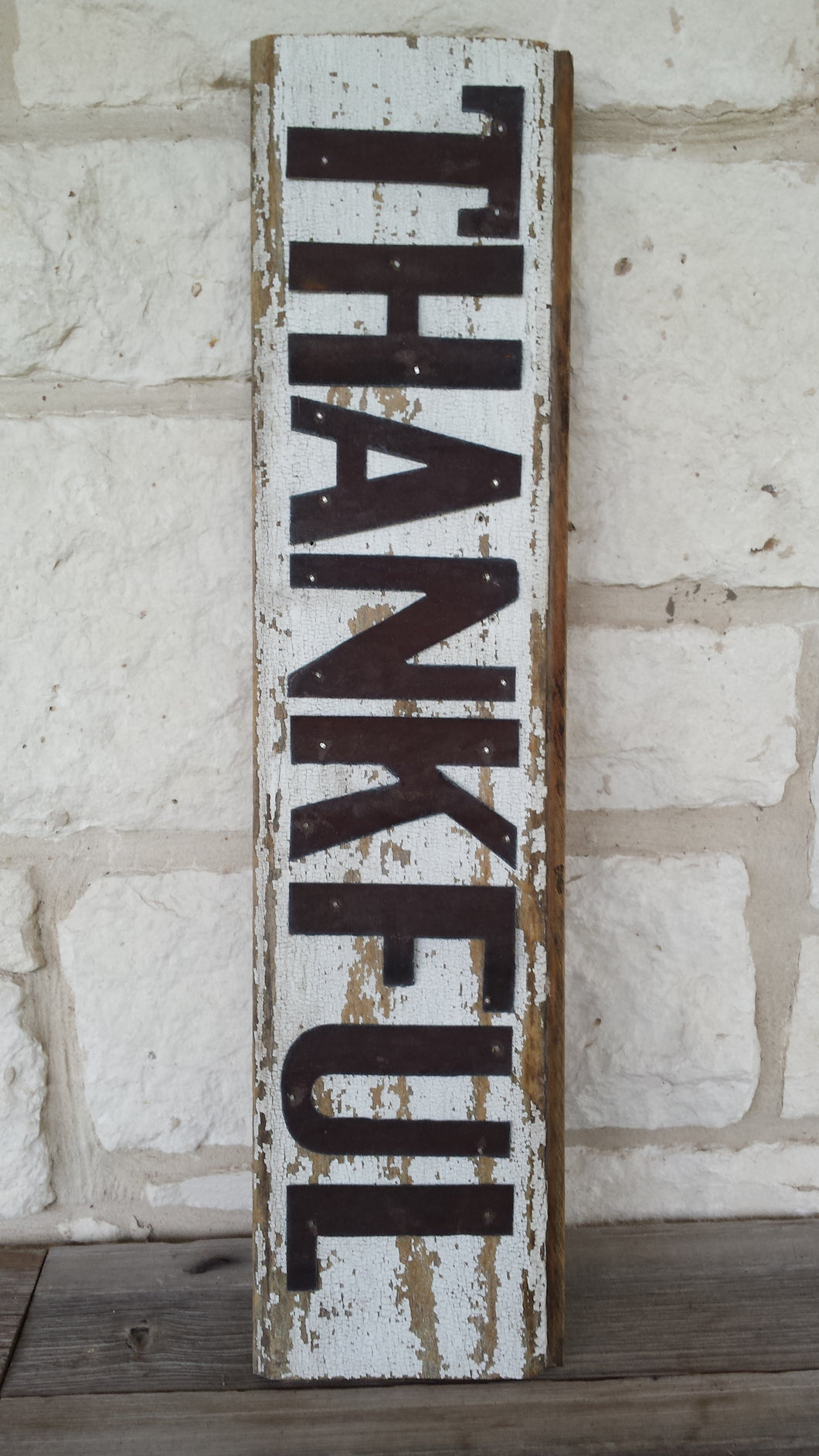 Handmade Reclaimed Barn Wood & Tin Thankful Sign
