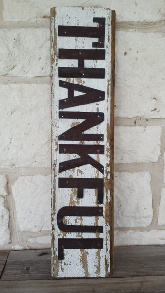 Handmade Reclaimed Barn Tin Thankful Sign