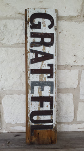 Handmade Reclaimed Barn Wood & Tin Grateful Sign