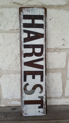 Handmade Reclaimed Barn Wood and Tin Harvest Sign