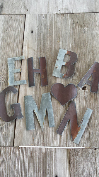 Reclaimed Barn Tin | Small Metal Letters