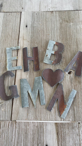 Reclaimed Barn Tin Small Metal Letters
