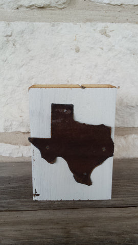 Handmade Reclaimed Barn Wood & Tin Texas Block