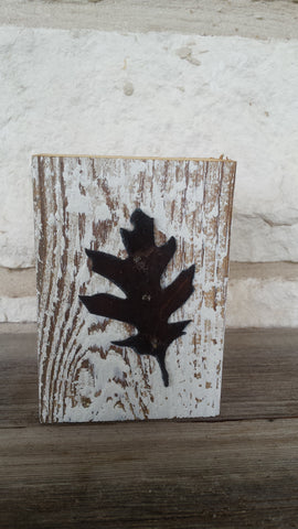 Handmade Reclaimed Barn Wood & Tin Leaf Block
