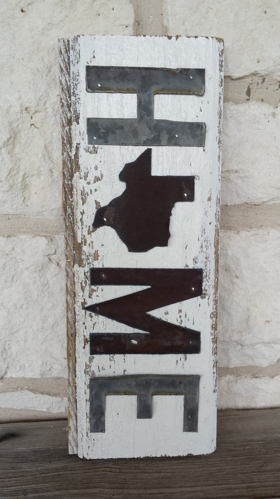 Handmade Reclaimed Barn Tin Home/Texas Sign