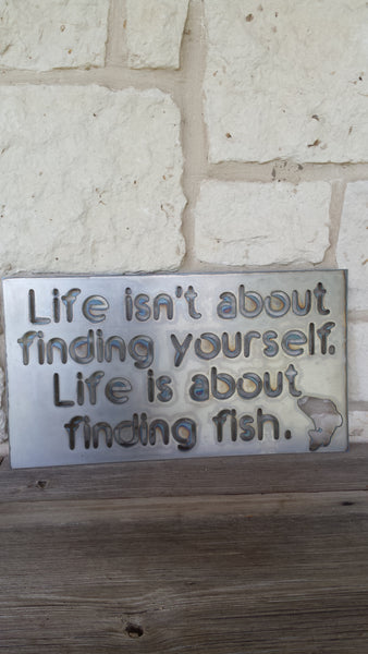 Find Fish Metal Sign